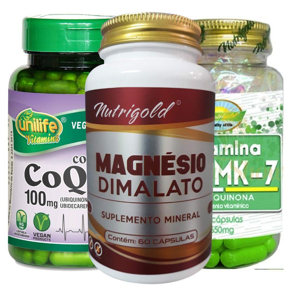 Kit Magnésio Dimalato 60 Caps + Coenzima Q10 60 Cp + Vitamina K2 Mk7 60 Cps Menaquinona