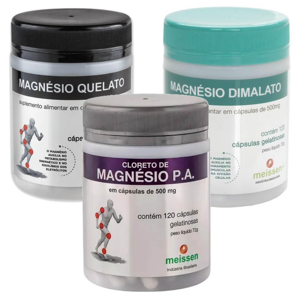 Trio Magnésio Meissen - Cloreto/ Quelato/ Dimalato - 120 Cáps