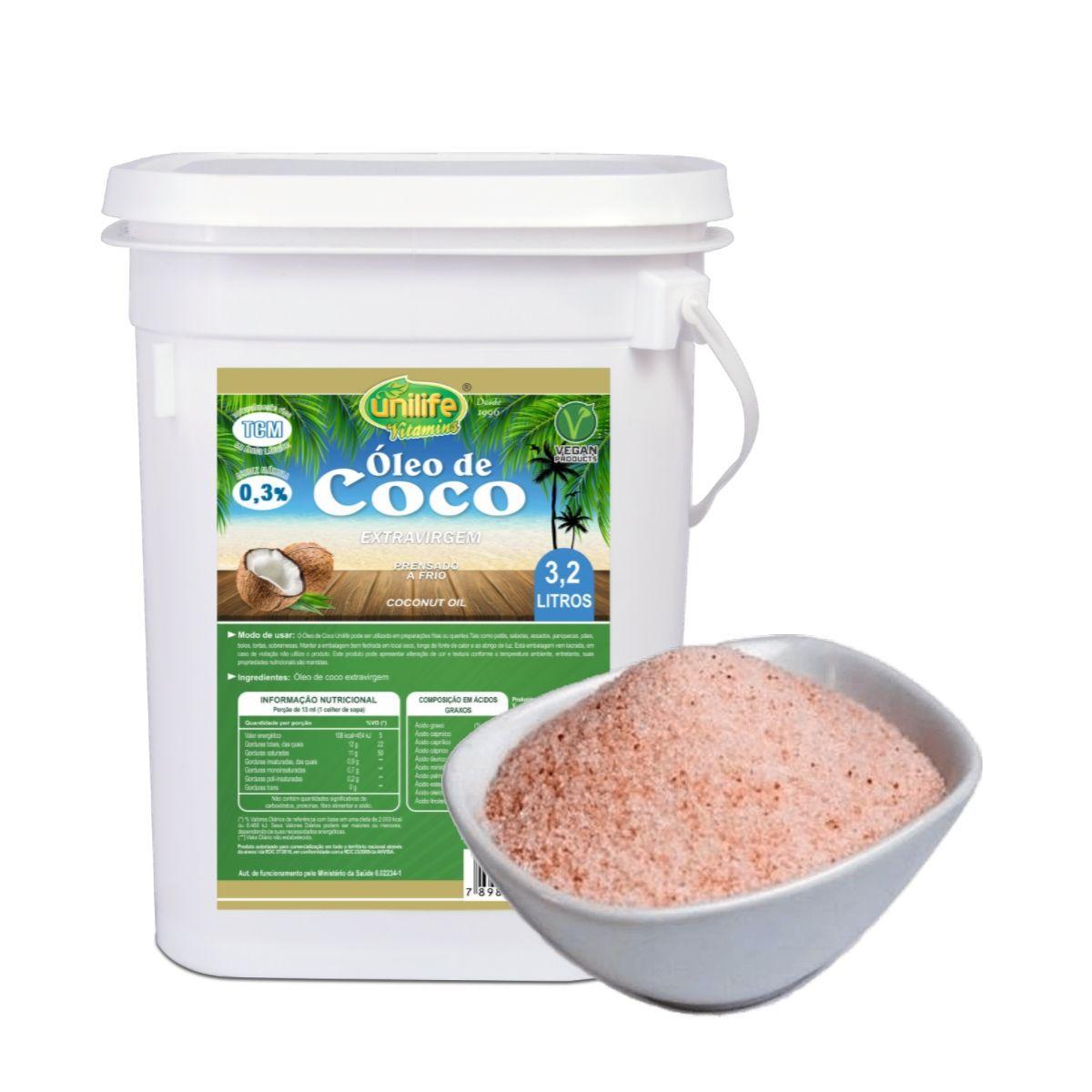Kit Oleo De Coco Extra Virgem 3,2 L + Sal Rosa Do Himalaia 1 Kg