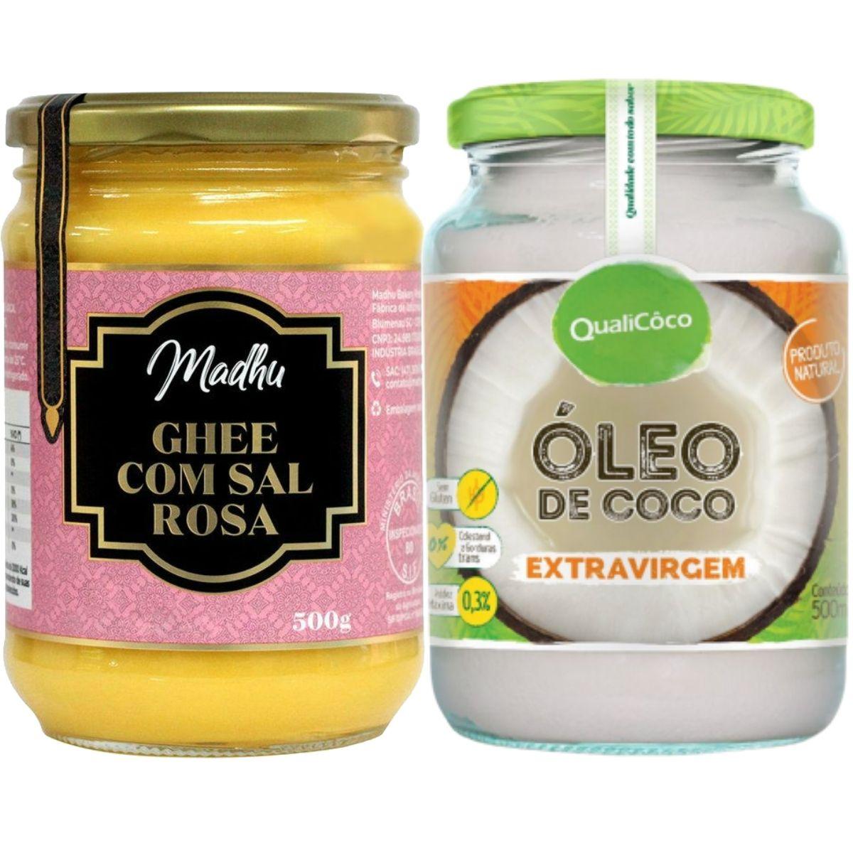 Kit Oleo De Coco Extra Virgem 500ml + Manteiga Ghee Clarificada C/ Sal Rosa 500g