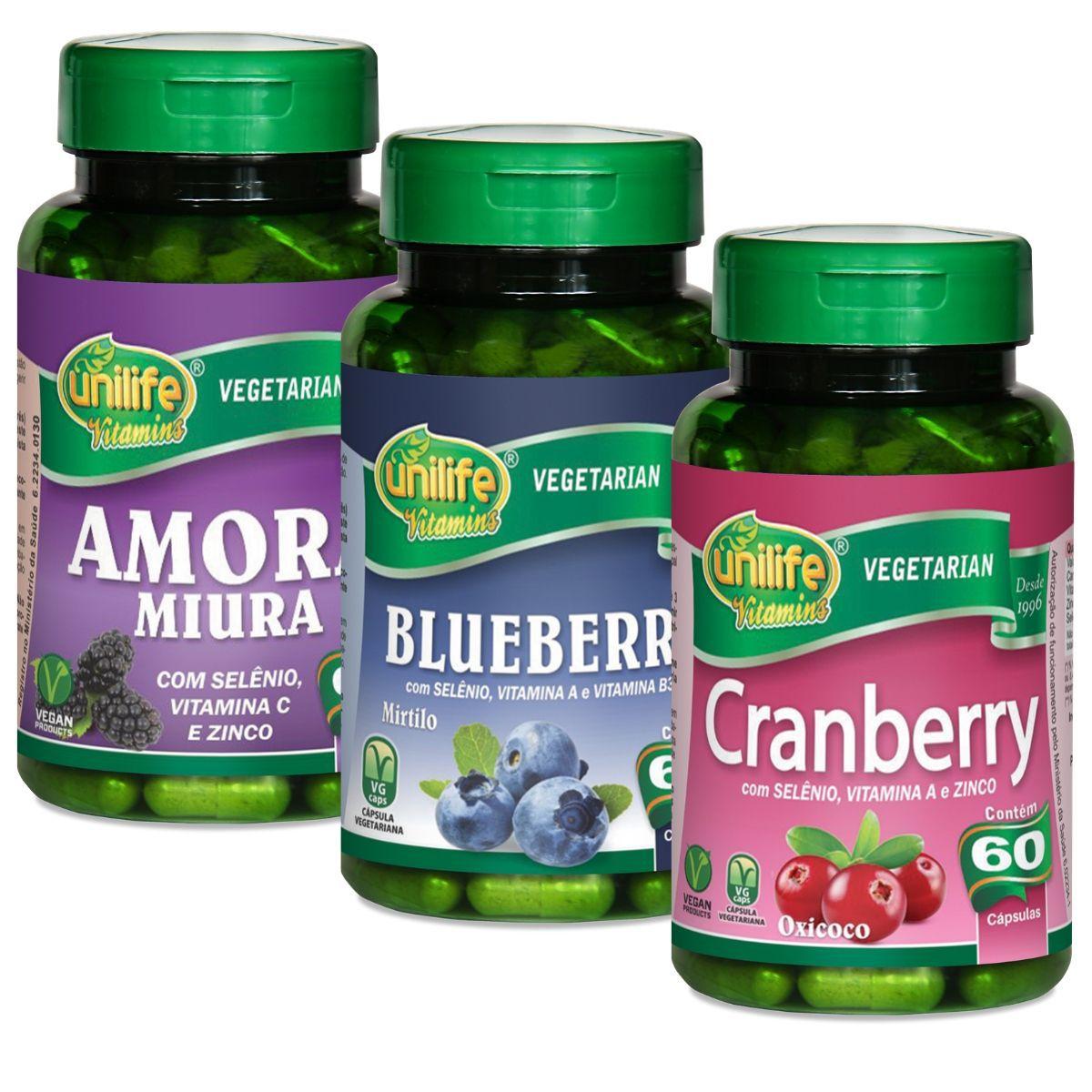 Kit Polifenóis - Amora Miura + Blueberry + Cranberry 60 Cáps - Unilife