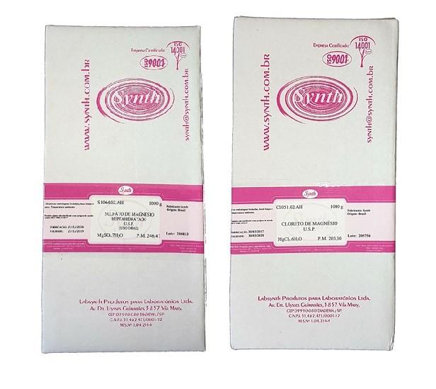 Kit Sulfato De Magnésio USP 1 kg + Cloreto De Mangnésio USP 1 Kg