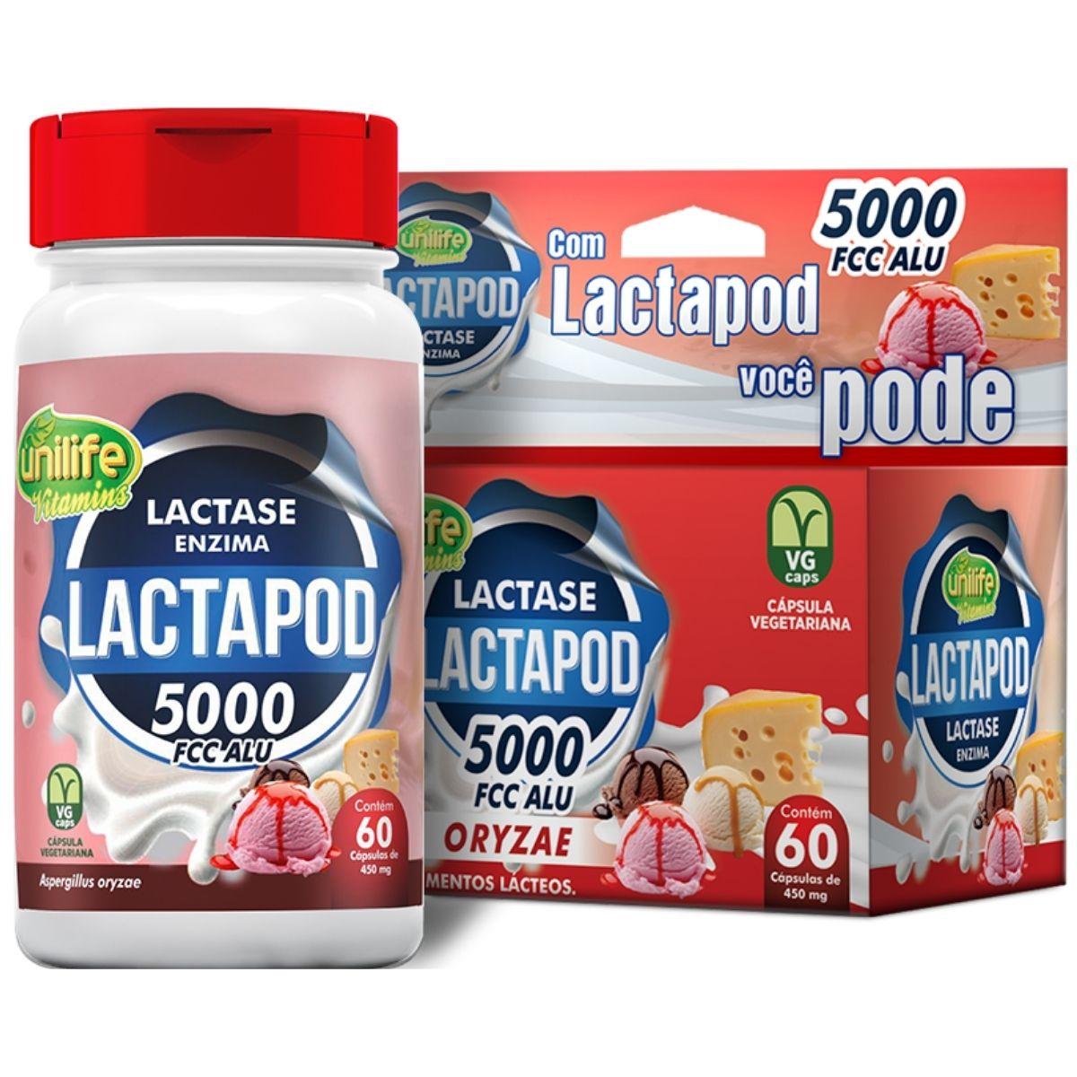 Lactase Lactapod Enzima 60 cápsulas 450mg - Unilife
