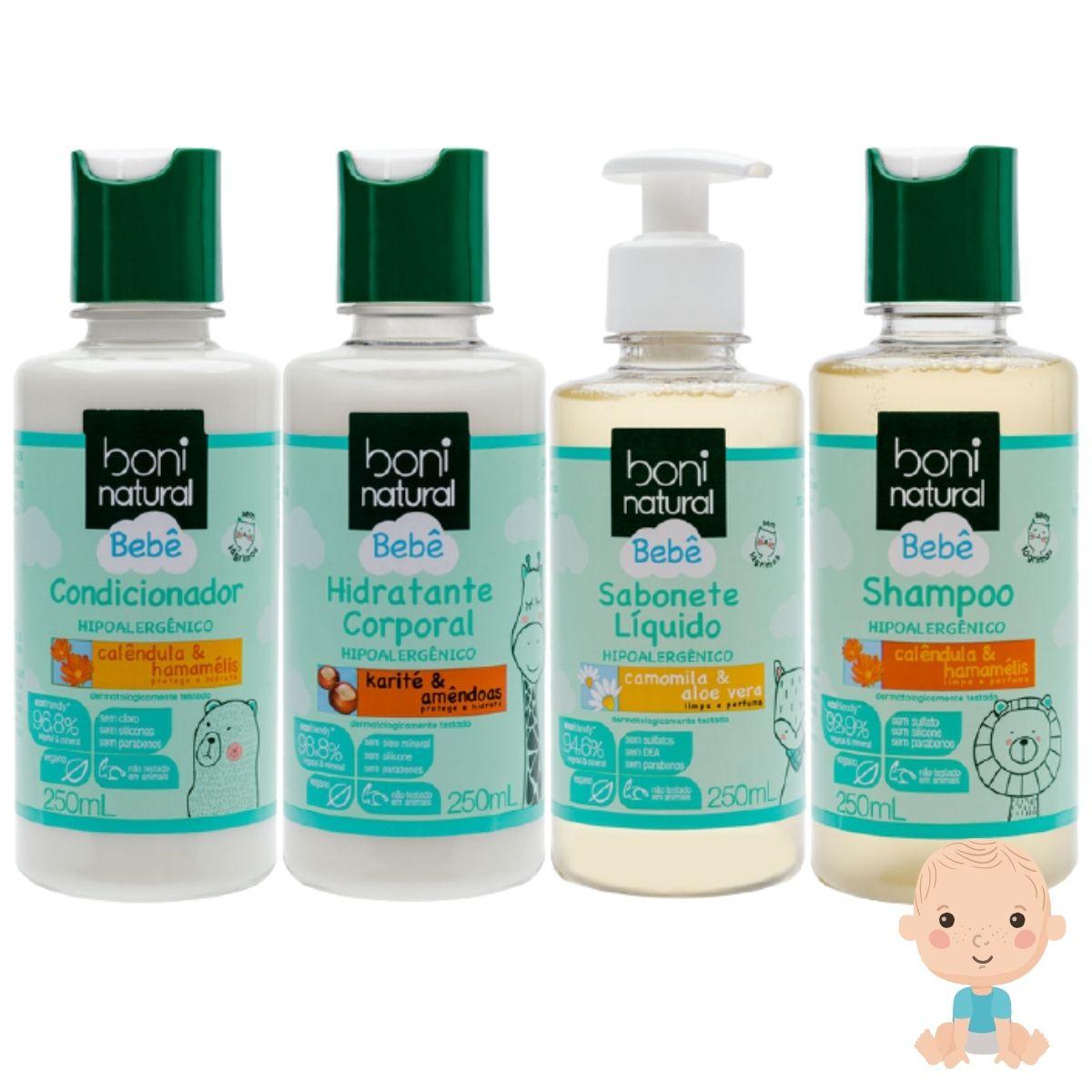 Linha Bebê Boni Natural C/ Shampoo, Condicionador, Hidratante e Sabonete 250ml