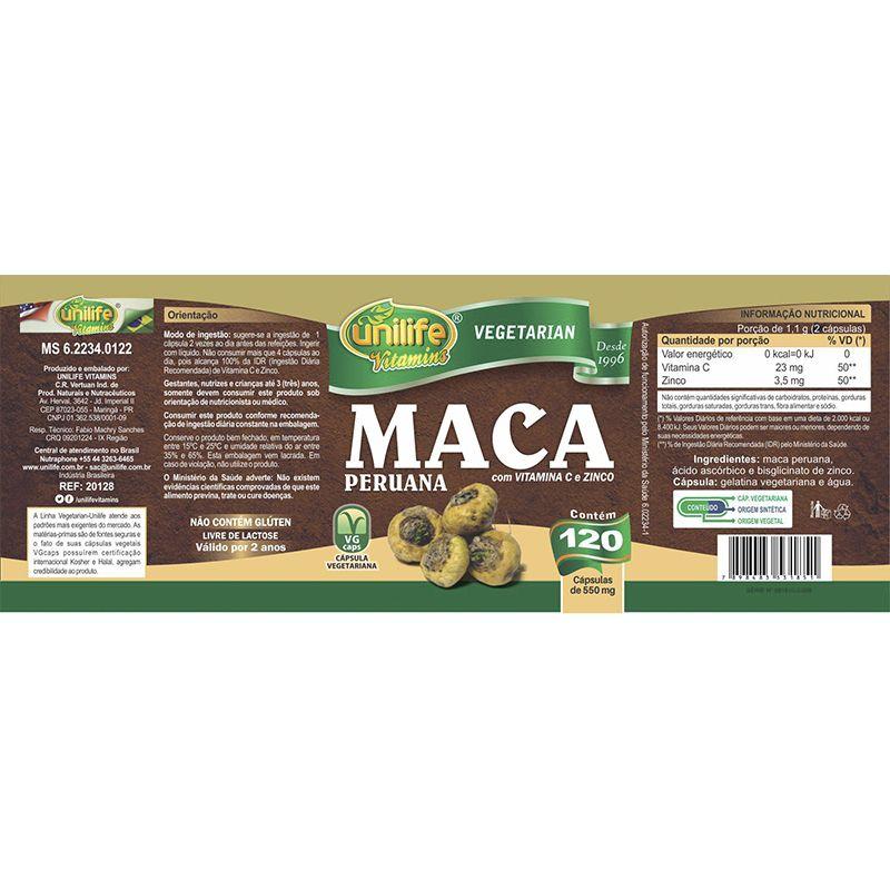 Maca Peruana C/ Vitaminas 500mg 120 Cápsulas - Unilife