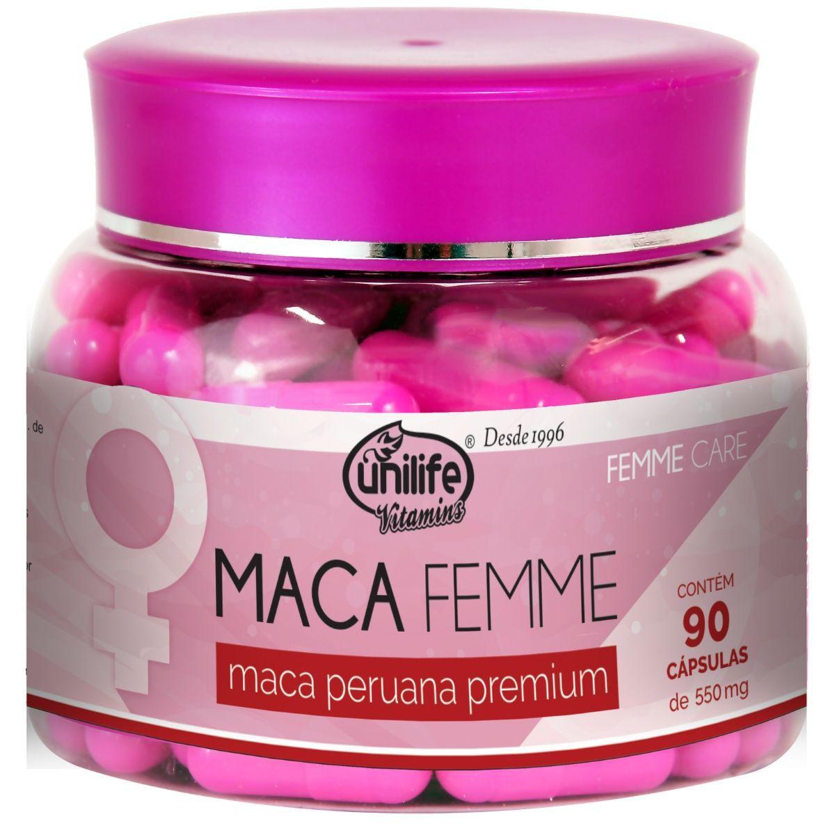 Maca Peruana Femme Premium Pura 90 Cápsulas 550mg - Unilife