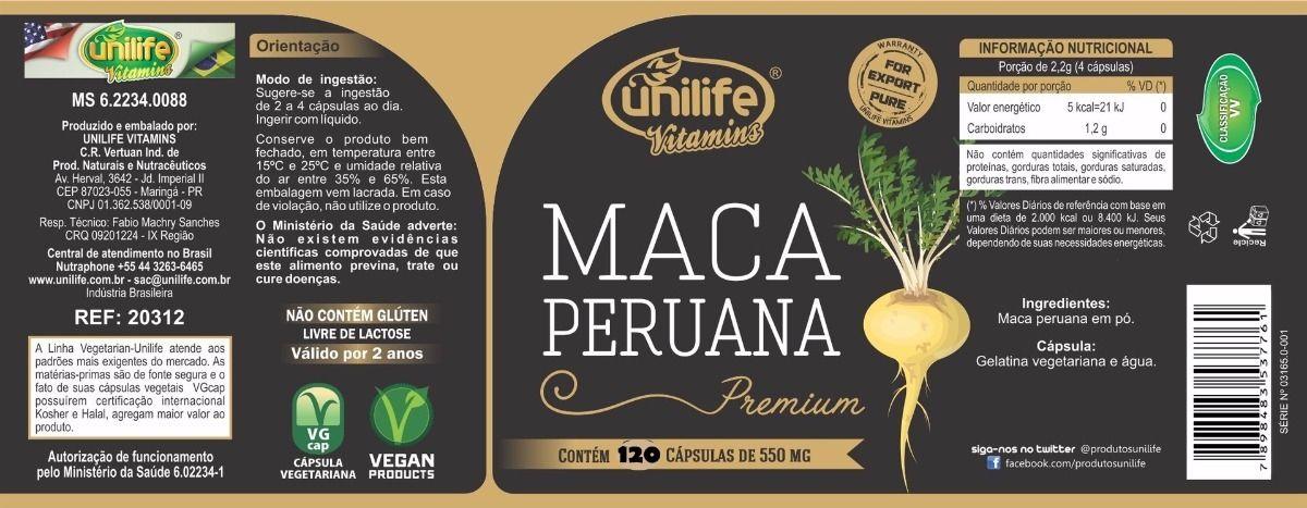 Maca Peruana Premium 100% Pura 550mg 120 Cáps - Unilife