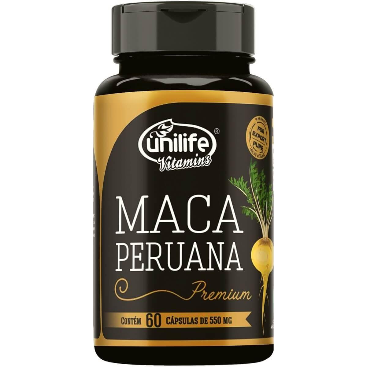 Maca Peruana Premium 100% Pura 550mg 60 Cáps - Unilife