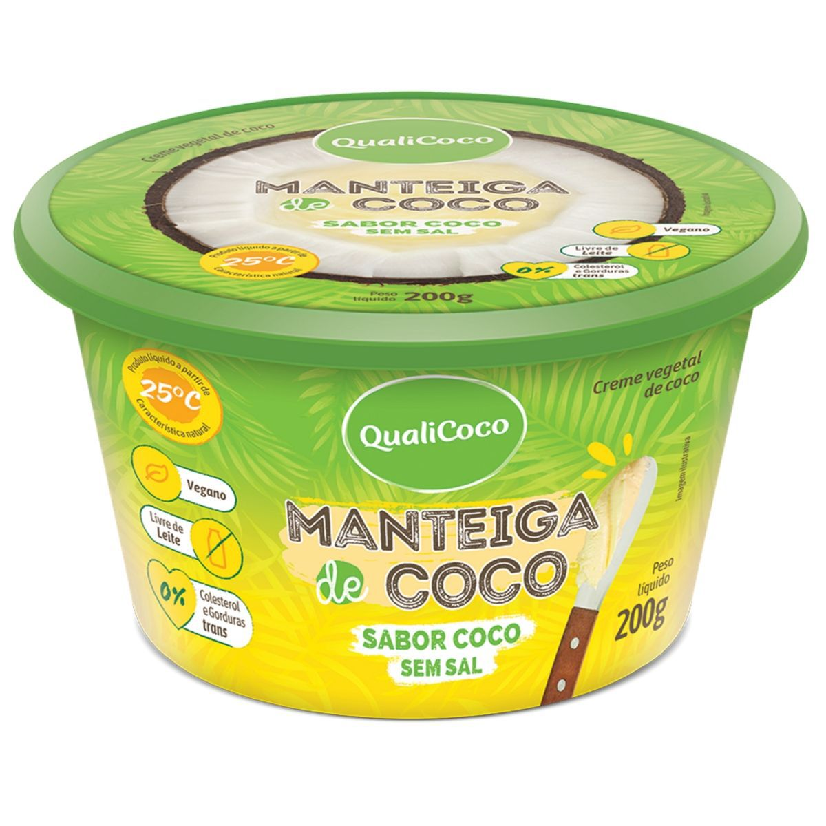 Manteiga De Coco Sem Sal Sabor Coco 200g - QualiCôco