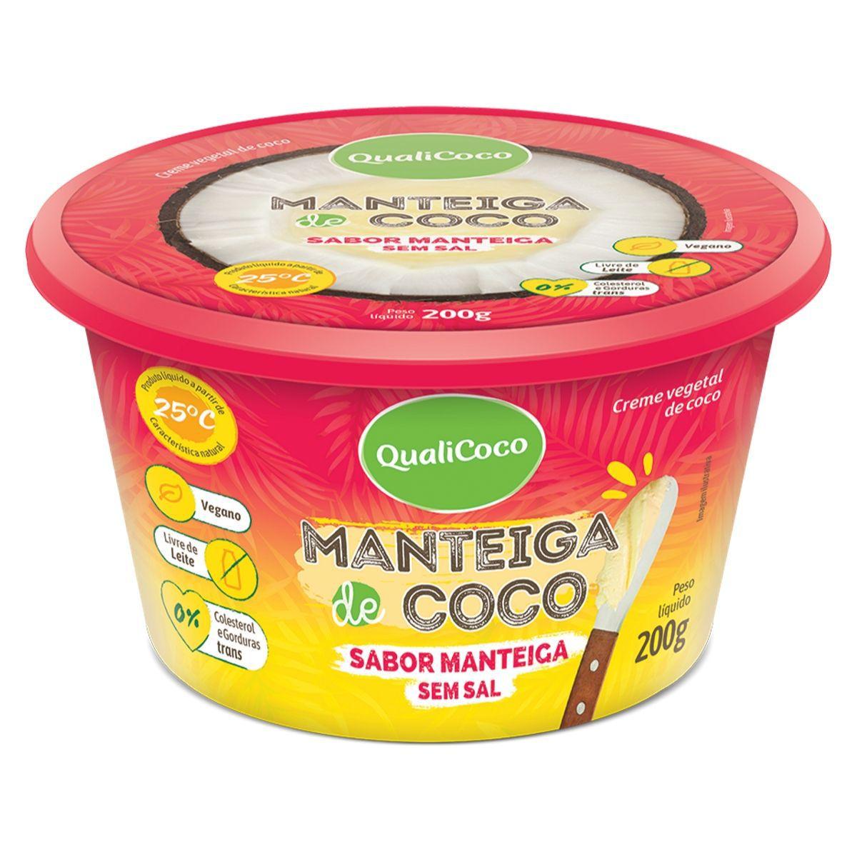 Manteiga De Coco Sem Sal Sabor Manteiga 200g - QualiCôco