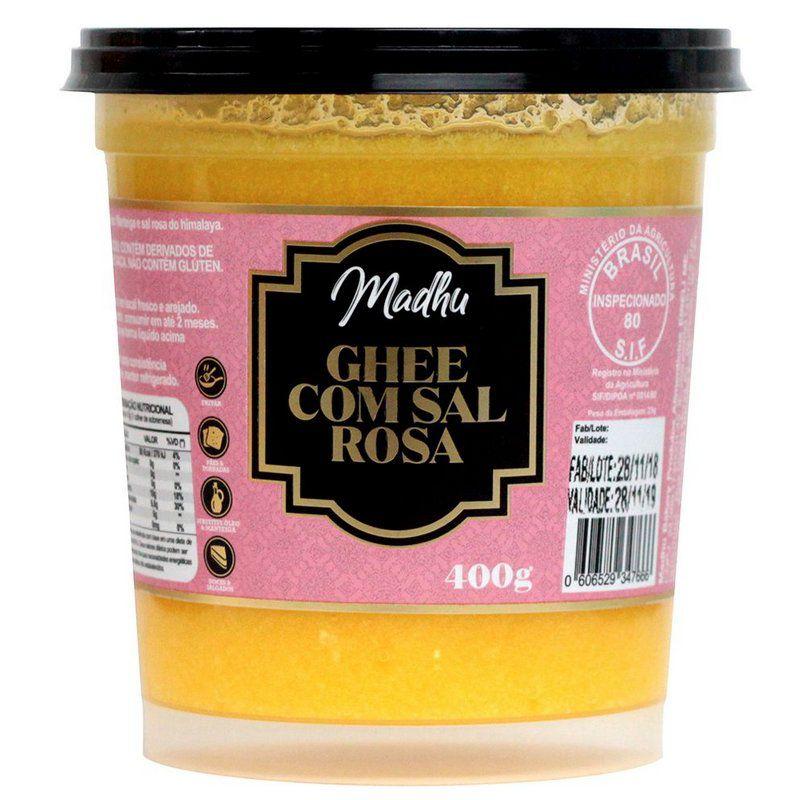 Manteiga Ghee 400g C/ Sal Rosa do Himalaia Clarificada Madhu Bakery
