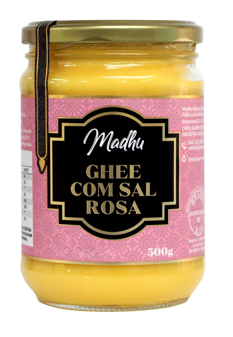 Manteiga Ghee 500g Clarificada C/ Sal Rosa do Himalaia Madhu Bakery