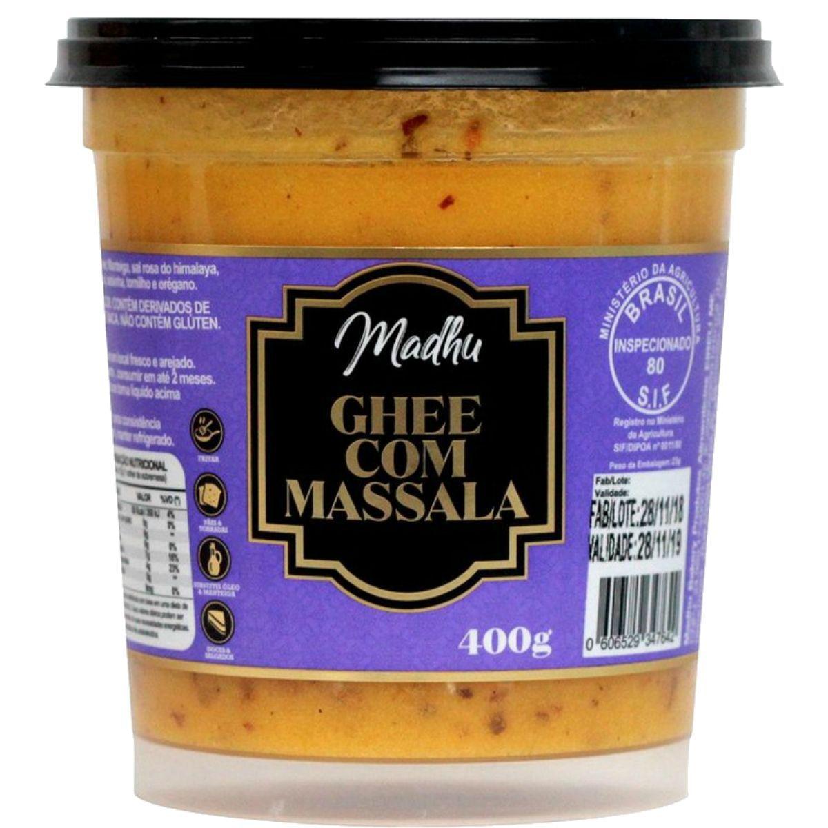 Manteiga Ghee C/ Massala Clarificada 400mg - Madhu Bakery