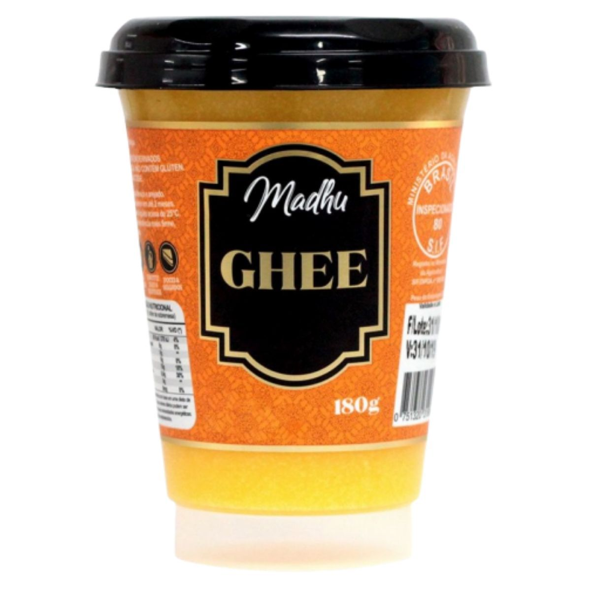 Manteiga Ghee Tradicional Clarificada 180g - Madhu Bakery