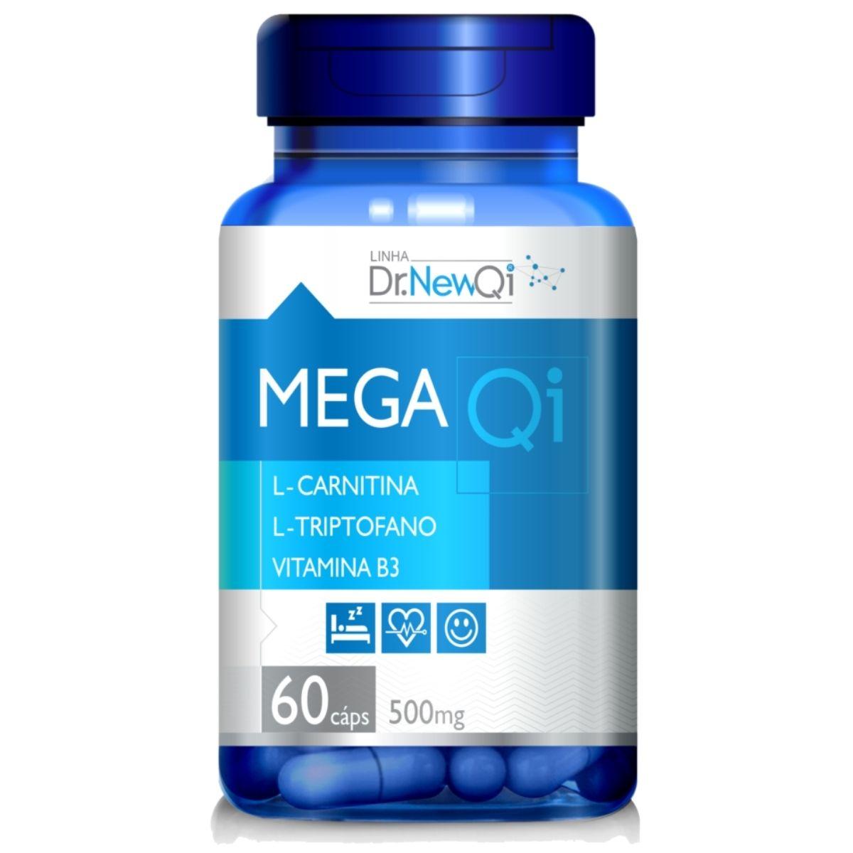 Mega Qi L-Triptofano + L-Carnitina + Vit. B3 500mg 60 Cápsulas - Upnutri