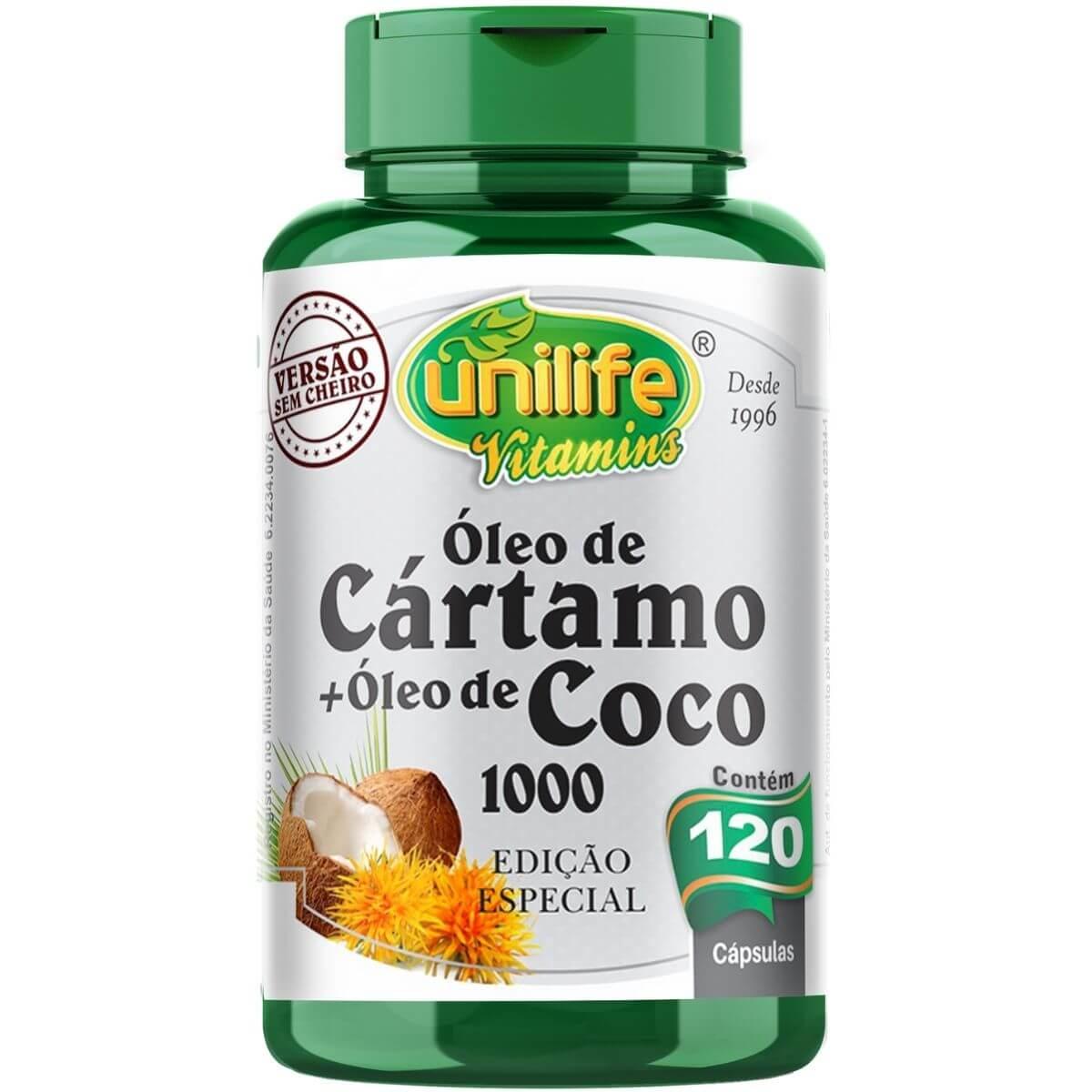 Óleo de Cártamo + Óleo de Coco 120 Cáps - Unilife