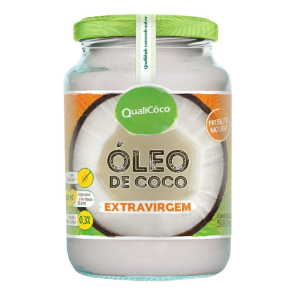Óleo de Coco Extra Virgem Prensado A Frio Puro 100% Natural 500ml - Qualicoco