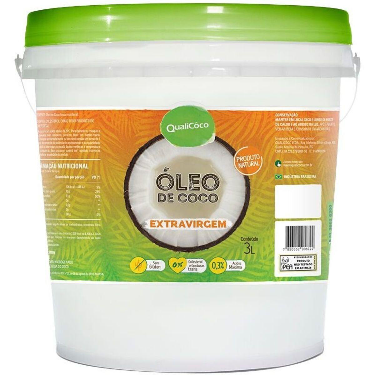 Óleo de Coco Extra Virgem Puro 3 Litros 100% Natural - Qualicoco