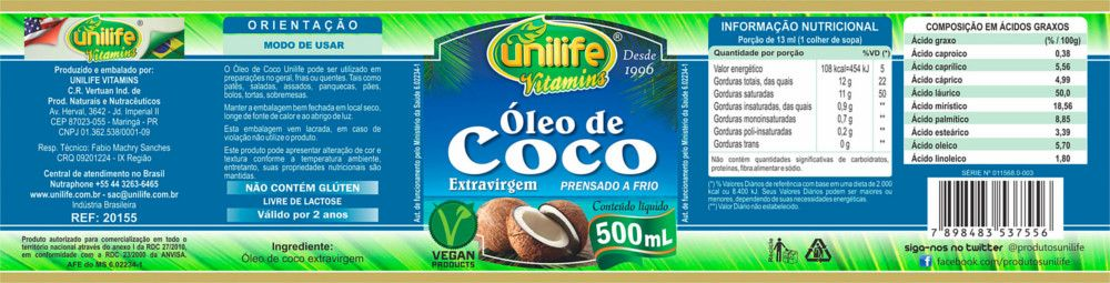 Óleo de Coco Extra Virgem Puro 500ml - Unilife - 100% Natural