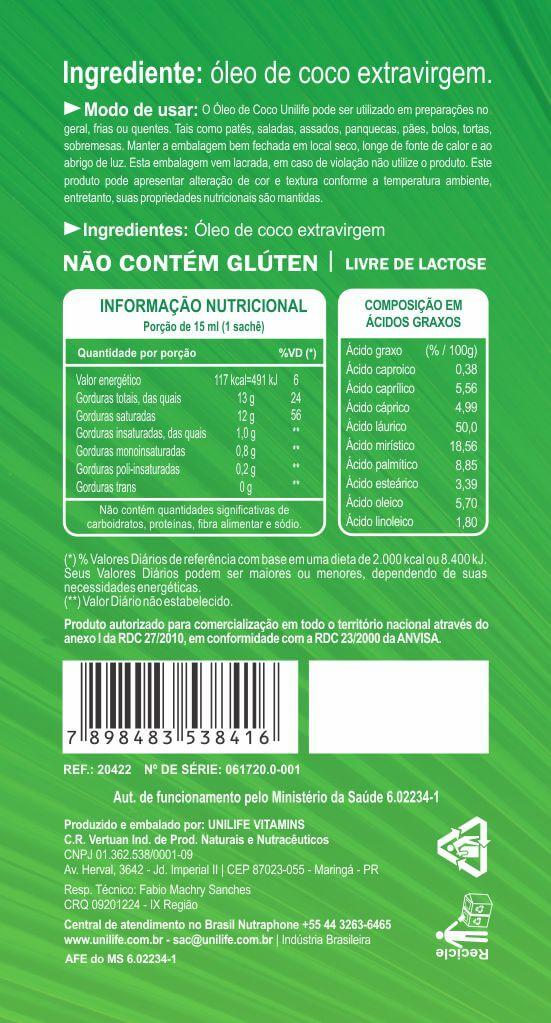 Óleo de Coco Extravirgem Unilife - 30 Sachês de 15 ml - Unilife