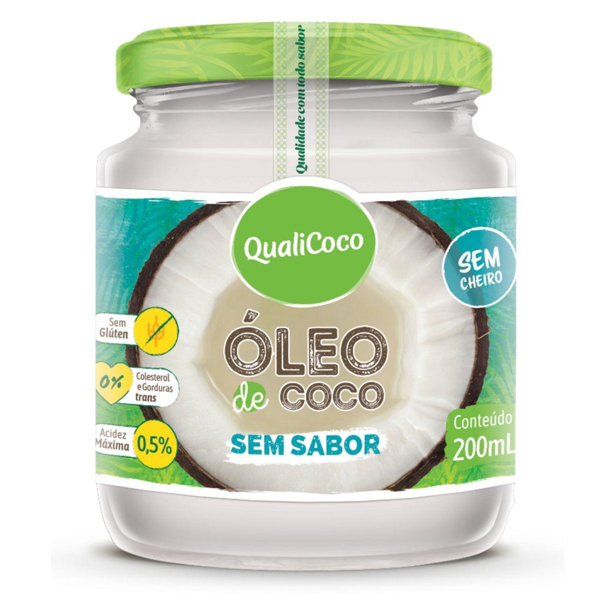 Óleo De Coco Sem Sabor E Sem Cheiro Prensado A Frio 200ml - QualiCôco