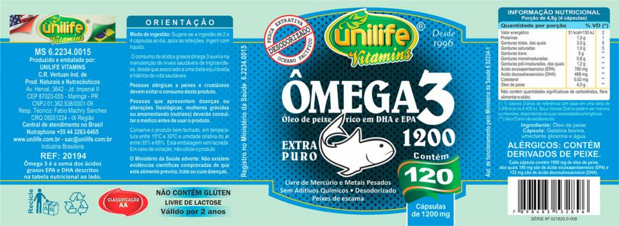 Ômega 3 Óleo de Peixe 120 Cápsulas 1200mg - Unilife