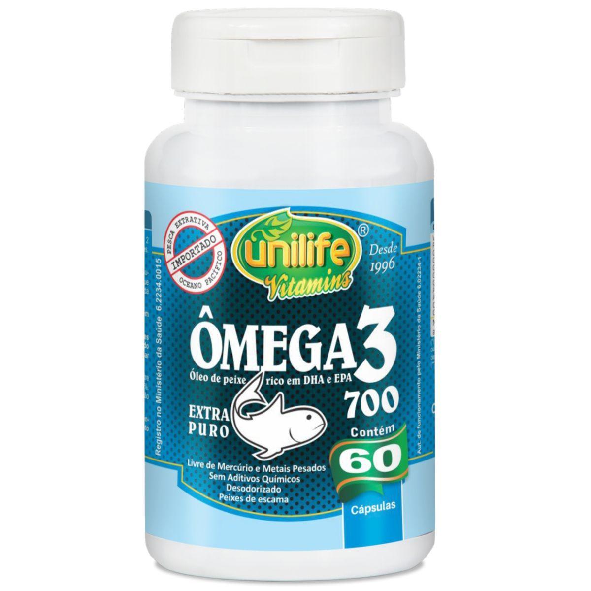 Ômega 3 Óleo de Peixe 60 Cápsulas 700mg - Unilife