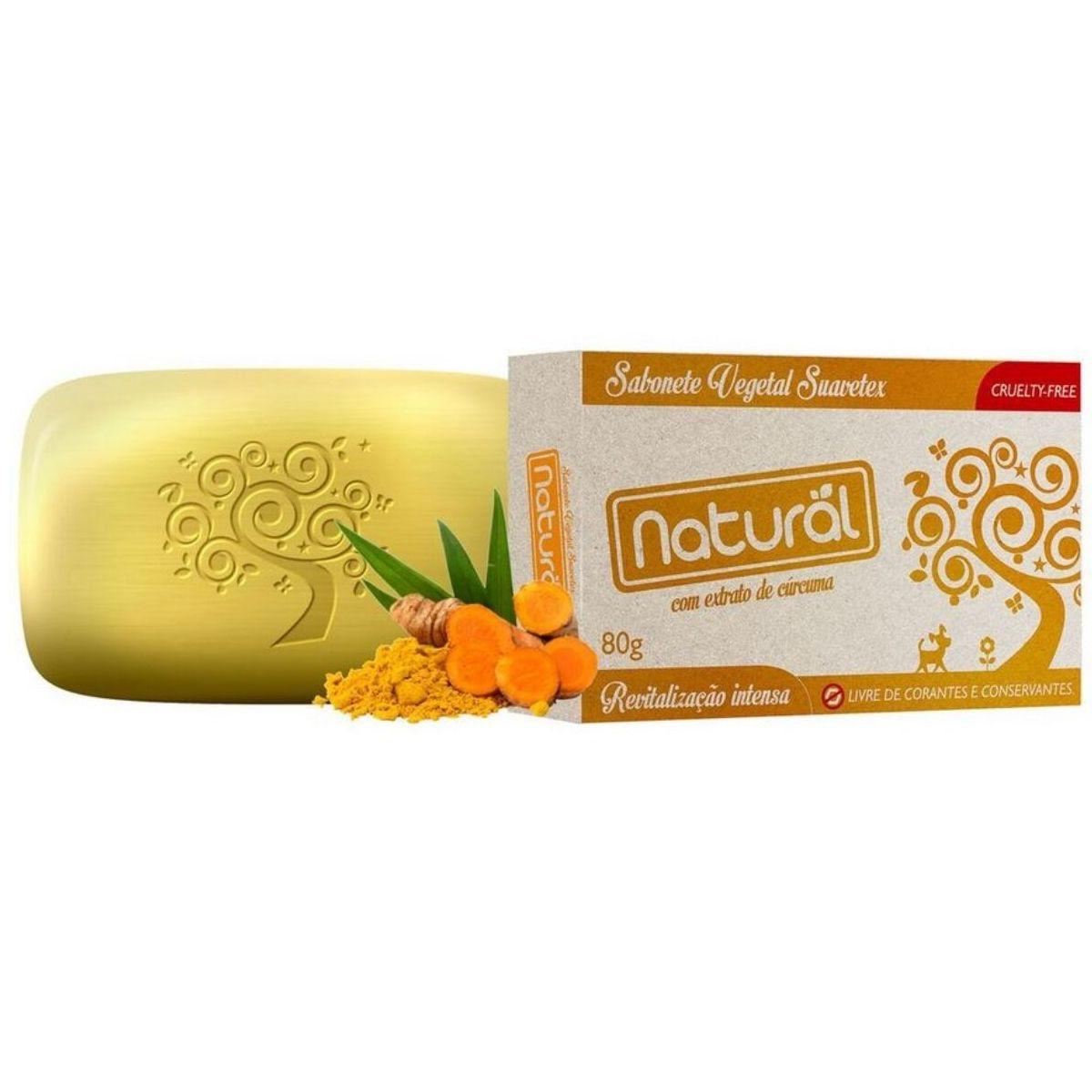 Sabonete Suavetex Natural Com Extrato De Cúrcuma 80g - Suavetex