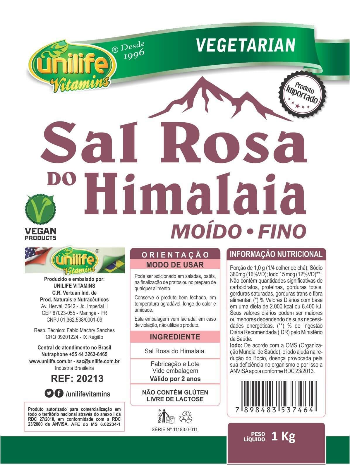 Sal Rosa Do Himalaia Integral 100% Natural 1 Kg - Unilife