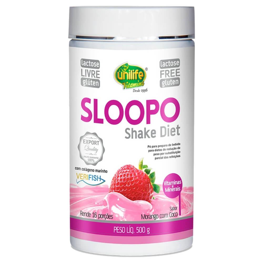 Shake Diet Sloopo Sabor Morango 500g - Unilife