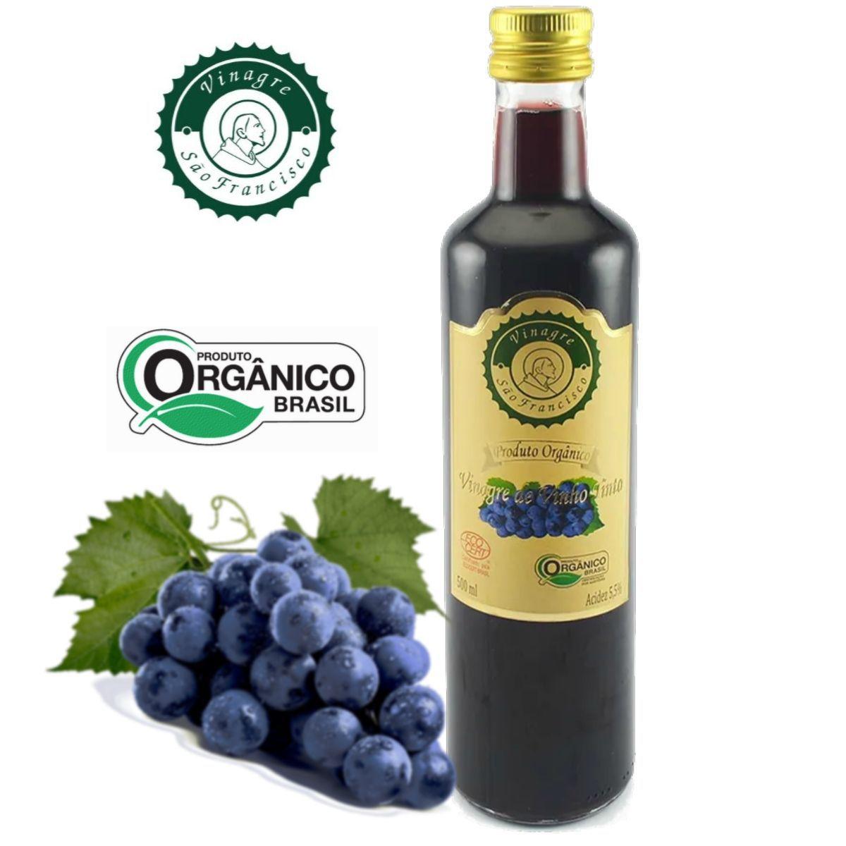 Vinagre Orgânico São Francisco Vinho Tinto Acidez 5,5% - 500ml