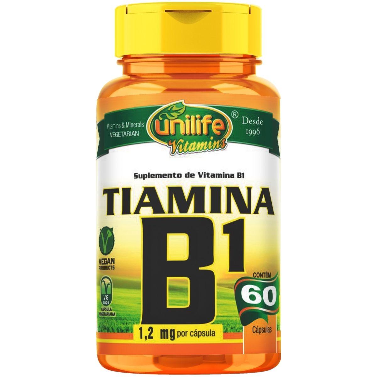 Vitamina B1 Tiamina 60 Cápsulas 500mg - Unilife