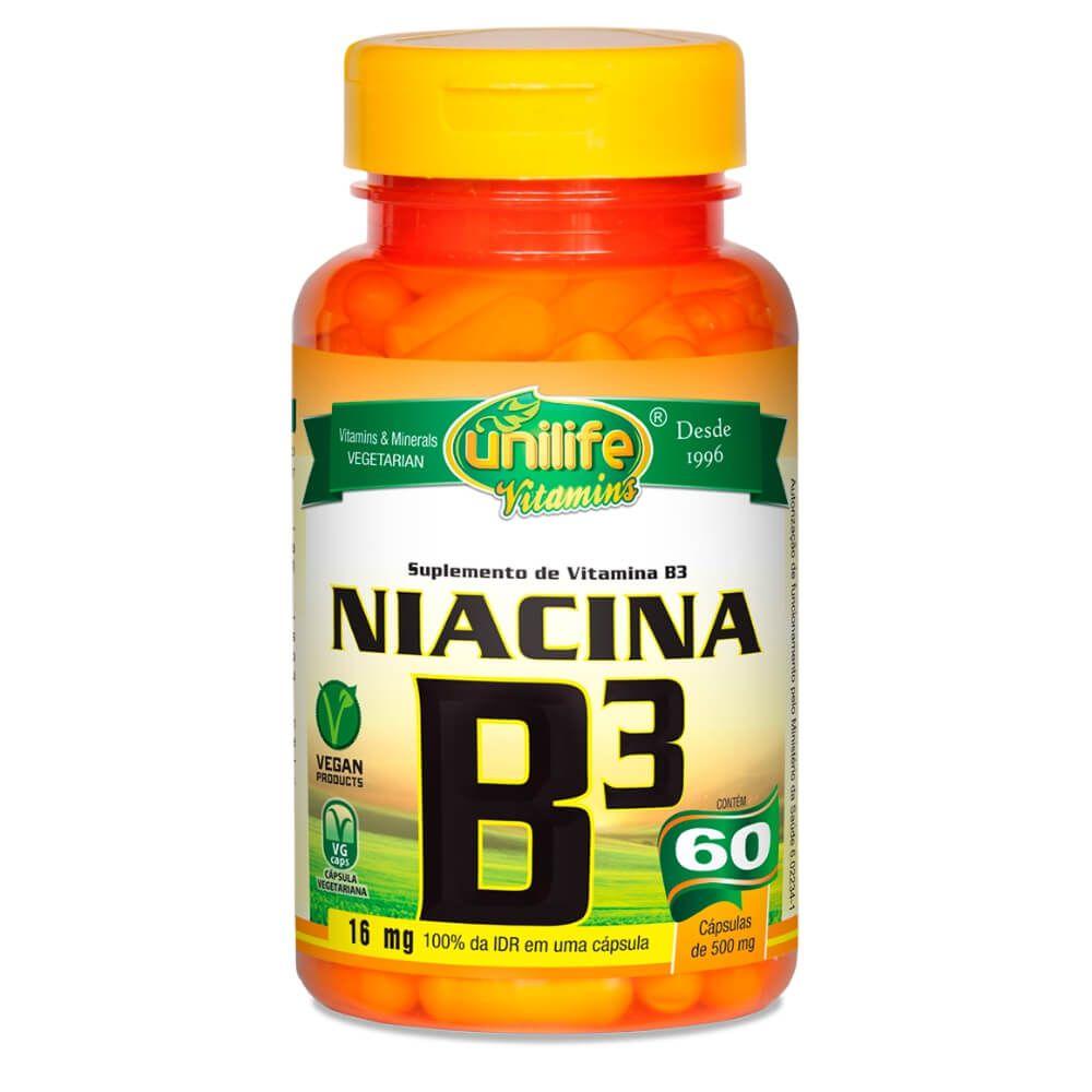 Vitamina B3 Niacina 60 Cápsula - Unilife