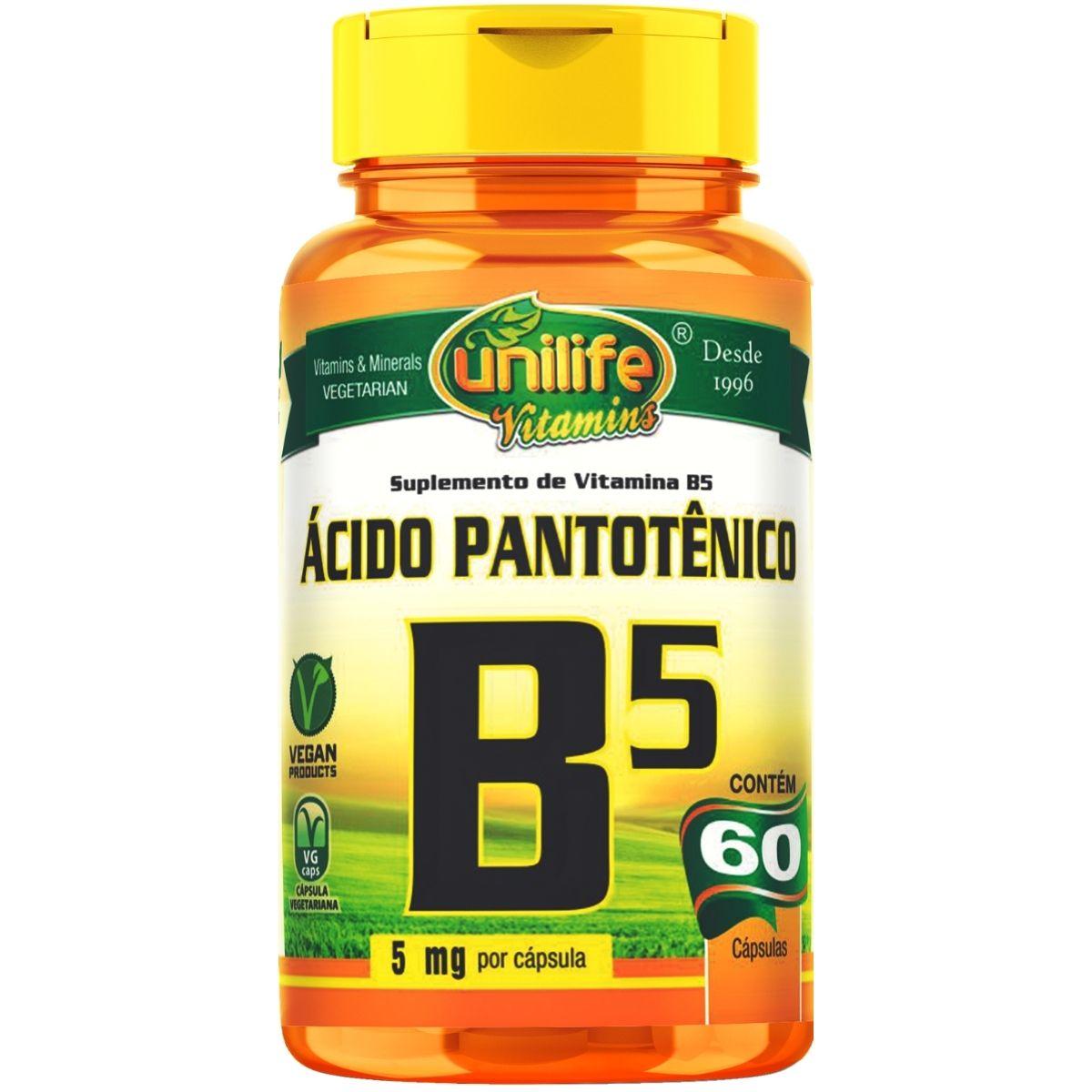 Vitamina B5 Ácido Pantotênico 60 Cáps - Unilife