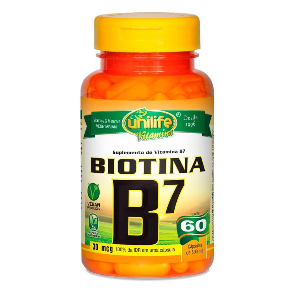 Vitamina B7 Biotina 500mg 60 Cáps - Unilife