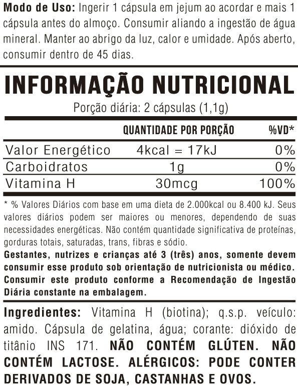 Vitamina H (Biotina) 60 Cápsulas 550mg