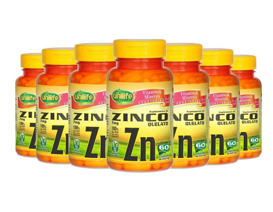 Kit 7 Zinco Quelato Zn - 60 Cápsulas Unilife