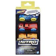 Refil Nerf Nitro com 03 Carrinhos de Espuma Azul, Verde e Laranja Hasbro
