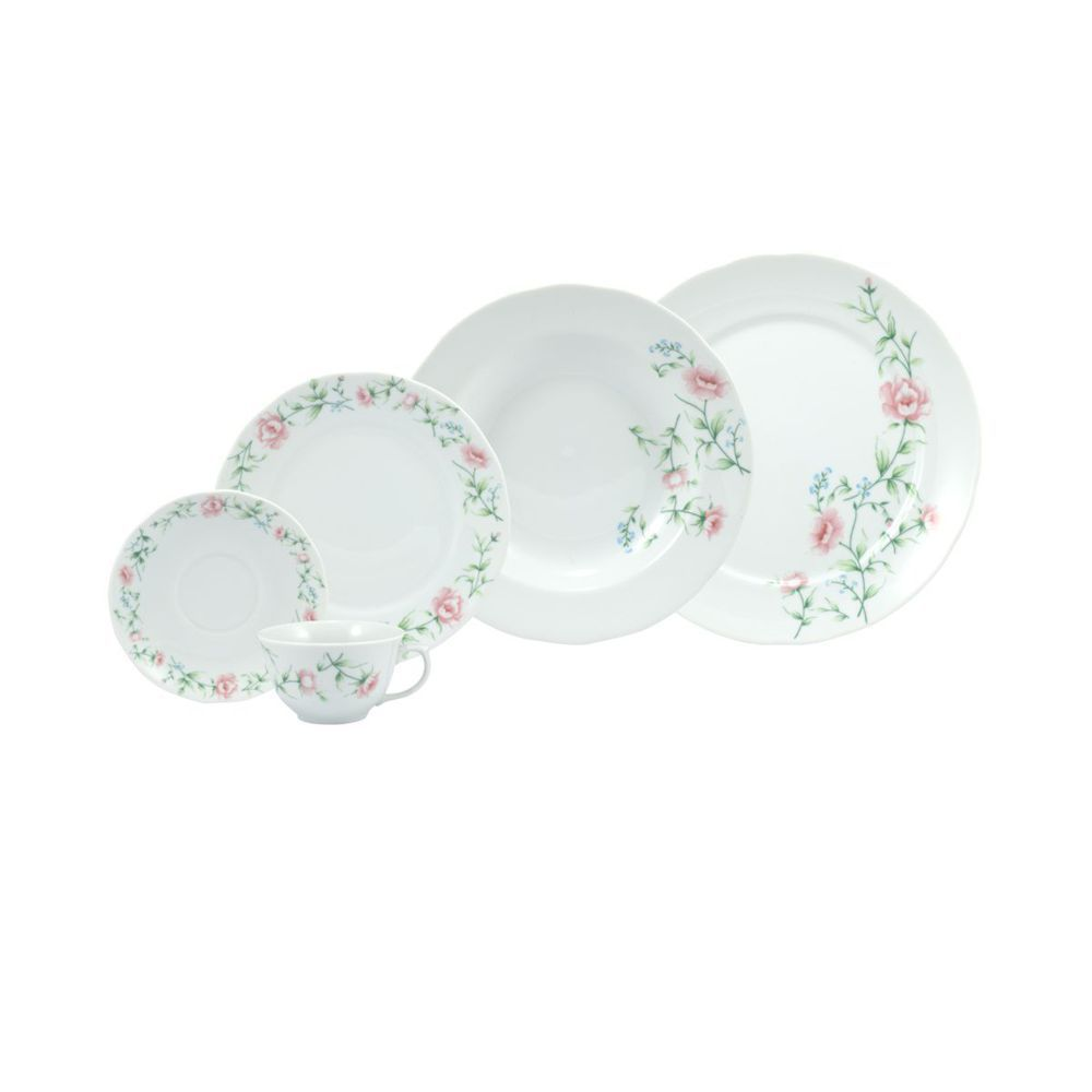 Aparelho de Jantar e Chá Tereza 30 Peças Porcelana Schmidt
