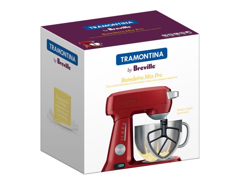 Batedeira Aluminio Vermelha 127V Mix Pro 4,7L 69015/021 Tramontina