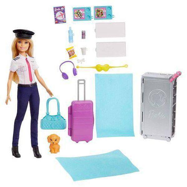 Boneca Barbie e Jatinho de Aventuras GJB33 Mattel