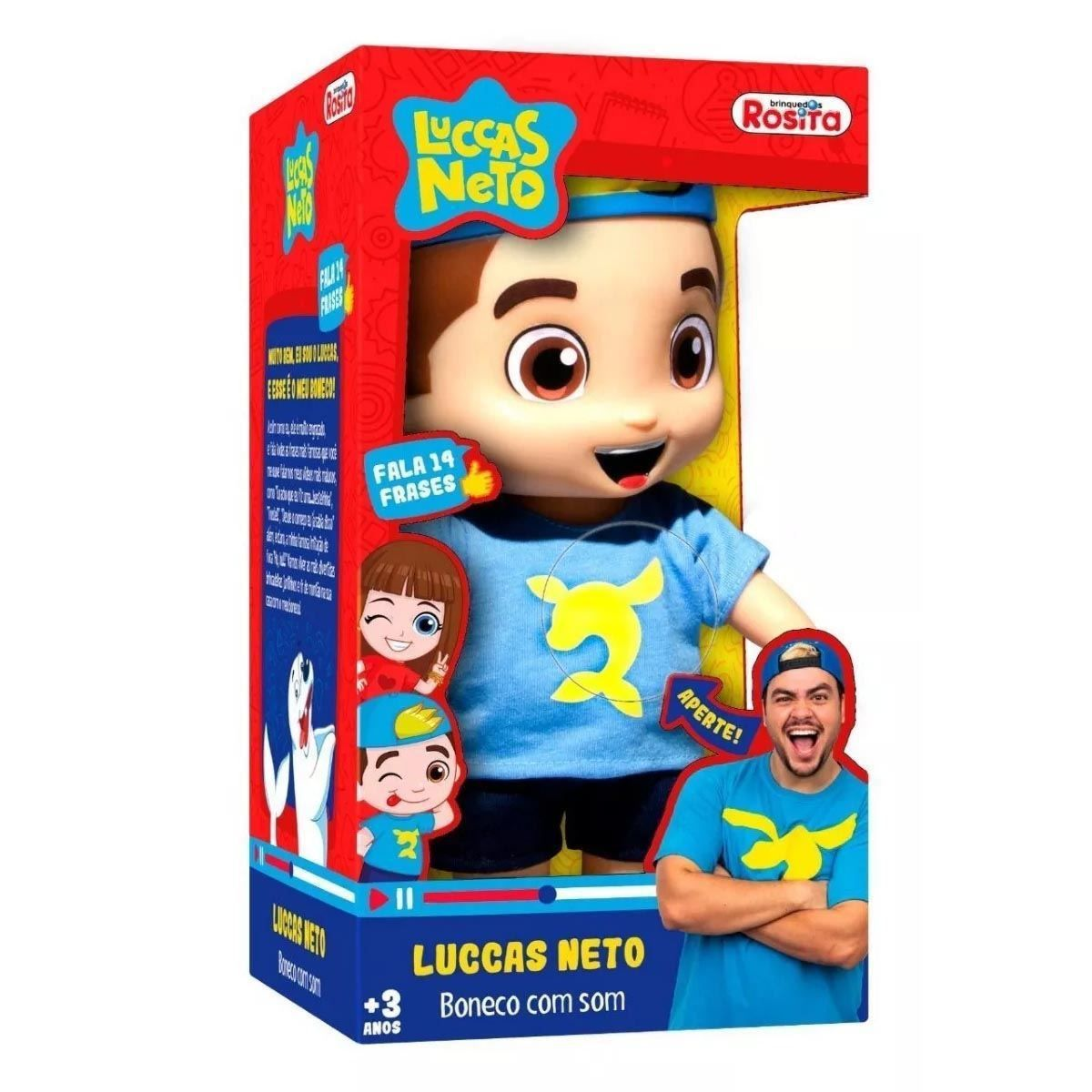 Boneco Luccas Neto com Som 1070 Azul Rosita