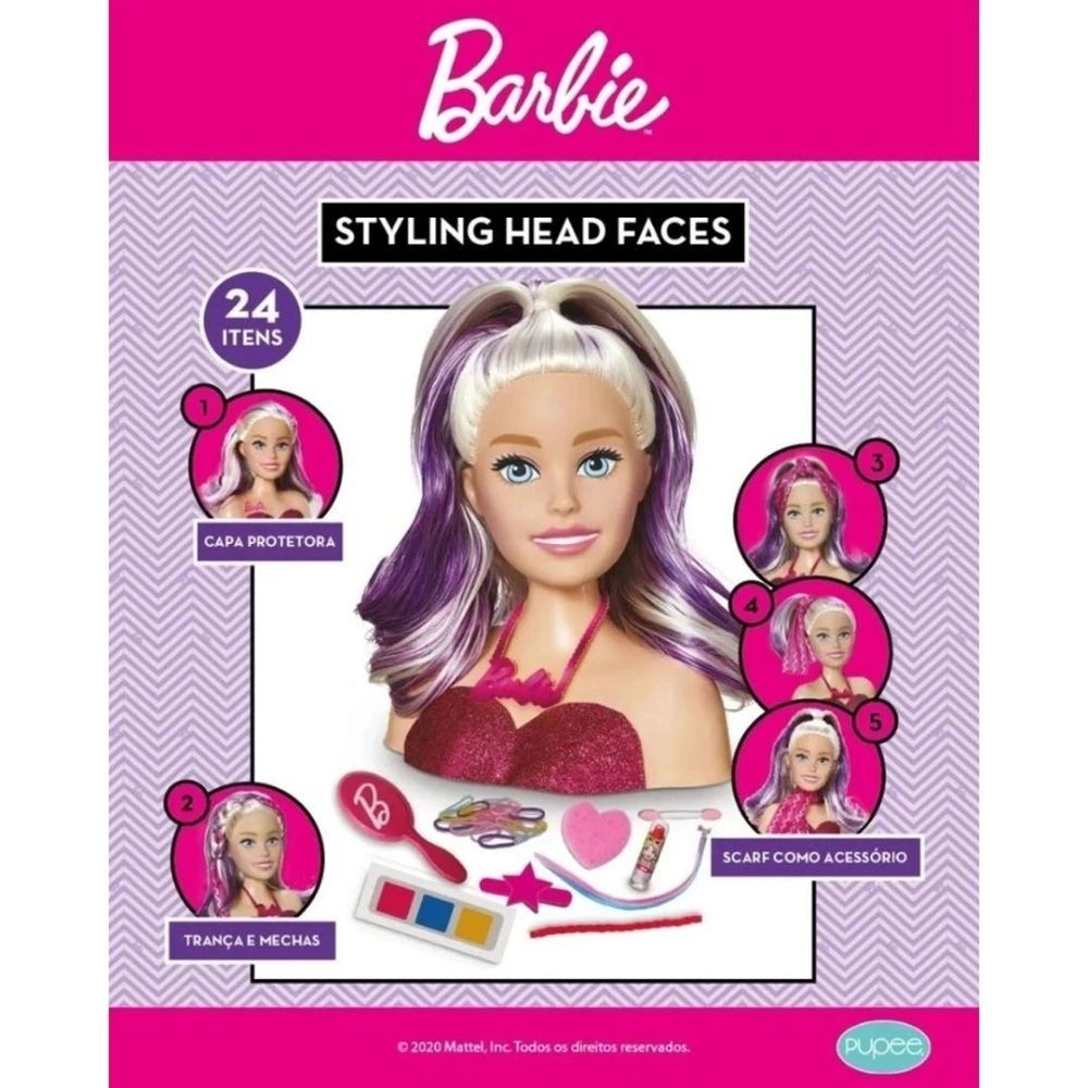 Busto de Boneca Barbie Styling Face Maquiagem 1265 Pupee