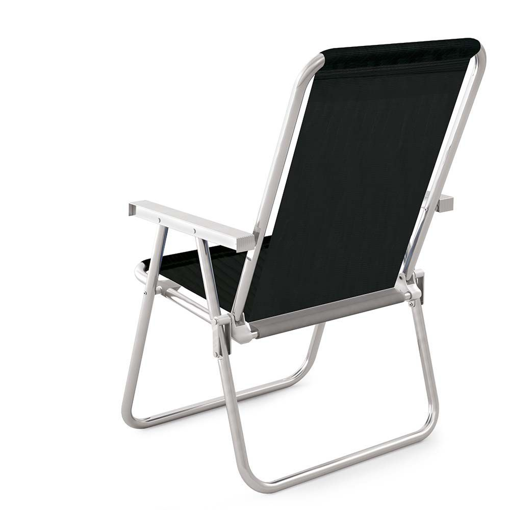 Cadeira de Praia Sannet Alta Conforto Alumínio Preto 2159 Mor