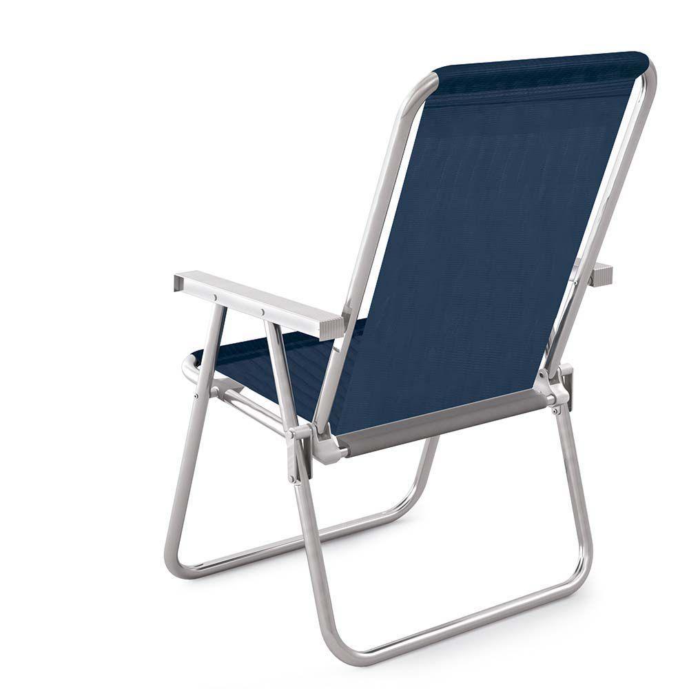 Cadeira de Praia Sannet Alta Conforto Alumínio Azul 2158 Mor