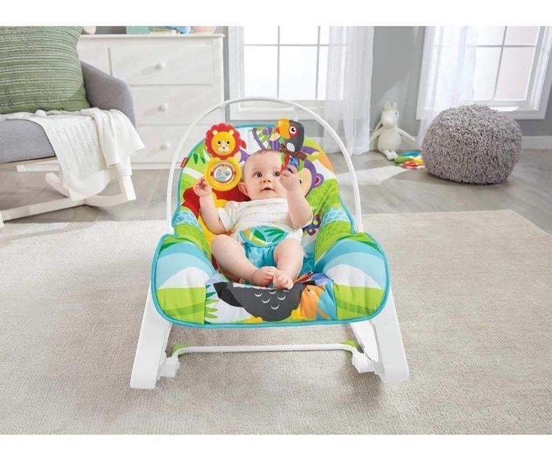 Cadeira de Balanço Minha Infância Macaquinho e Leão GDP94 Fisher Price