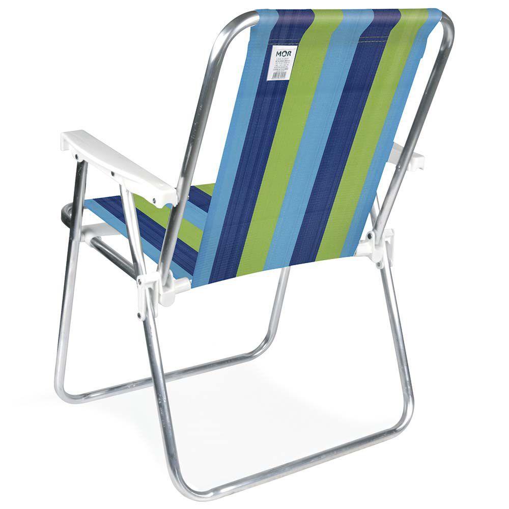 Cadeira de Praia Alta Dobrável em Alumínio 2101 Mor