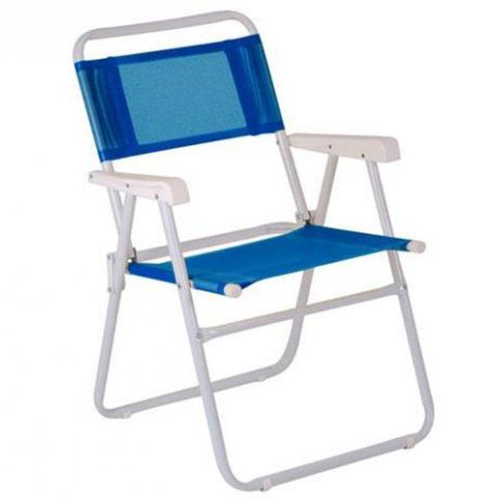 Cadeira De Praia Piscina Dobrável Master Azul Ref 2003Mor