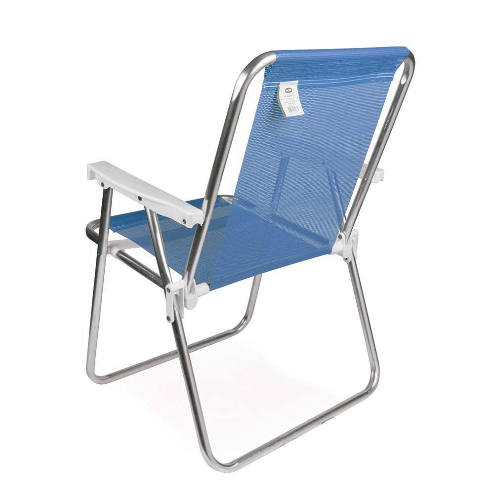 Cadeira de Praia Sannet Aluminio Alta Azul Ref 2274Mor