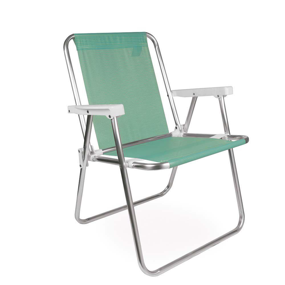 Cadeira de Praia Sannet Alta Aluminio Verde 2278 Mor